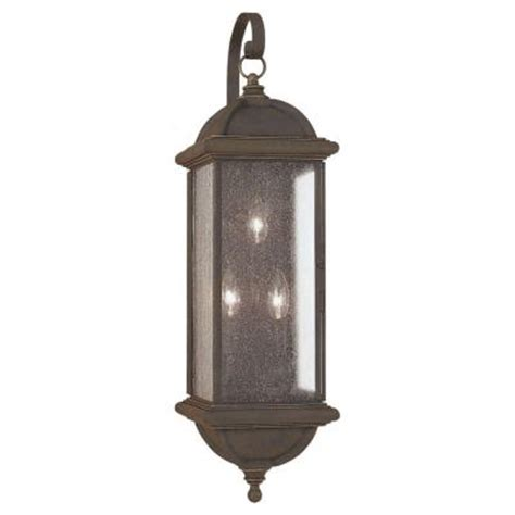 Home Depot Outdoor Wall Lighting Sea Gull Lighting Charleston 3 Light Outdoor Gold Patina Wall Mount Fixture 8846 85 The Home Depot