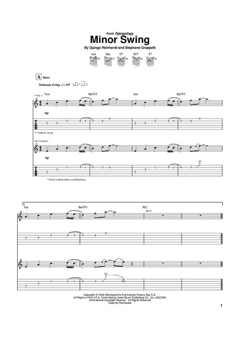 minor swing django reinhardt tab minor swing sheet for piano and more