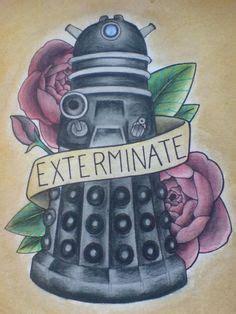 dalek tattoo designs doctor who flash by hauntedlikehouses on etsy 50