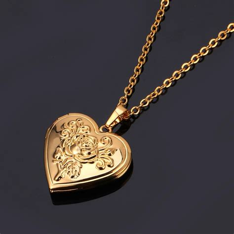 Gold Intl u7 flower locket pendant 18k real gold plated necklace