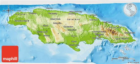 physical map of jamaica physical 3d map of jamaica political outside