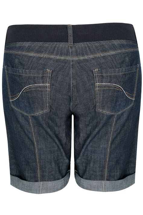 Indigo Check Gift Card Balance - indigo denim roll up utility shorts with ribbed elasticated waistband plus size 16 to 36