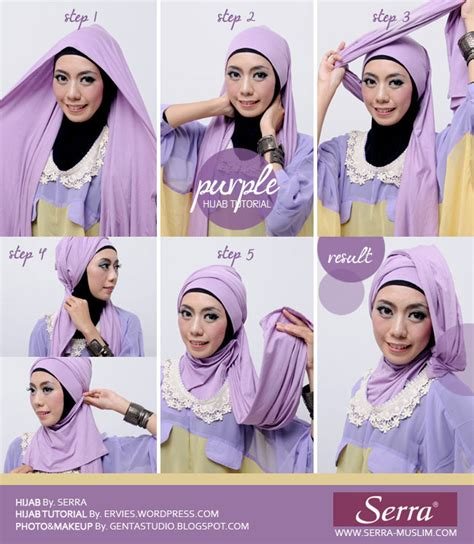 tutorial hijab turban pashmina simple tutorial hijab purple shawl