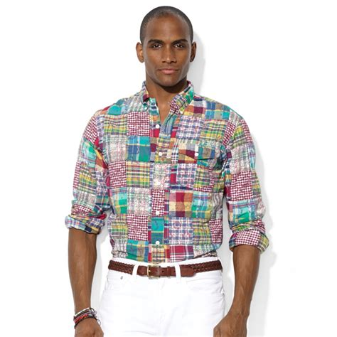 lyst ralph polo patchwork madras bleecker pocket