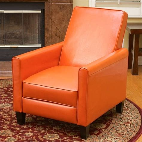 orange leather recliner trent home delouth leather recliner chair in orange 224252cy