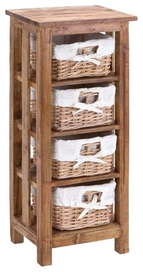 Basket Storage Furniture by Mahogany Wooden Rattan Basket With 3 Shelves And Storage