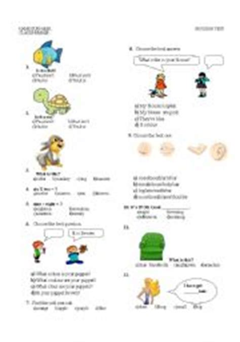 multiple choice worksheets on theme body parts body clothes coulours animals