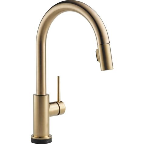 delta touch kitchen faucet shop delta trinsic touch2o chagne bronze 1 handle pull touch kitchen faucet at lowes