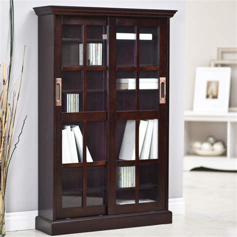 espresso bookcase with doors southern enterprises media cabinet paperback bookcase