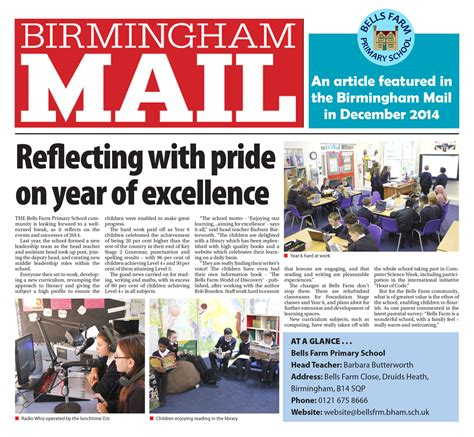 Birmingham Mail Section by Bells Farm Hit The Press Bells Farm Primary School