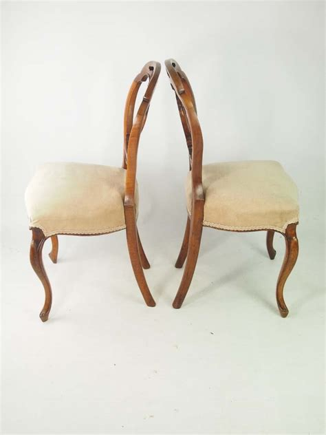 vintage back chairs set 4 antique walnut balloon back chairs
