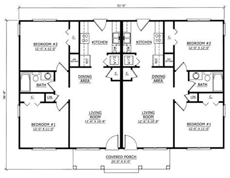 Multi Family House Plans Duplex by Floor Plan Of Ranch Multi Family Plan 54419 Floor