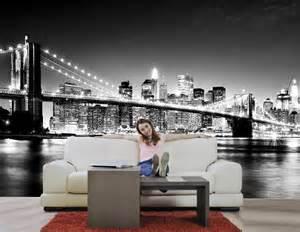 New York Wall Murals For Bedrooms Giant New York Skyline Black Amp White Brooklyn Bridge