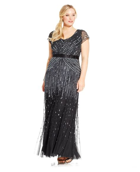 dress cap sleeve beaded sequin gown papell plus size cap sleeve beaded sequined gown
