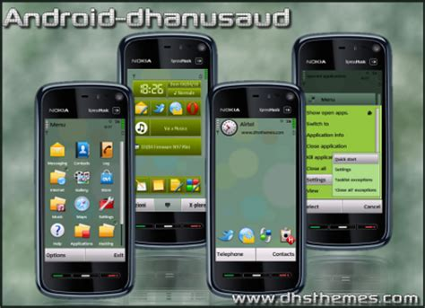 tema green e63 android theme free download for symbian s60 3rd and 5th