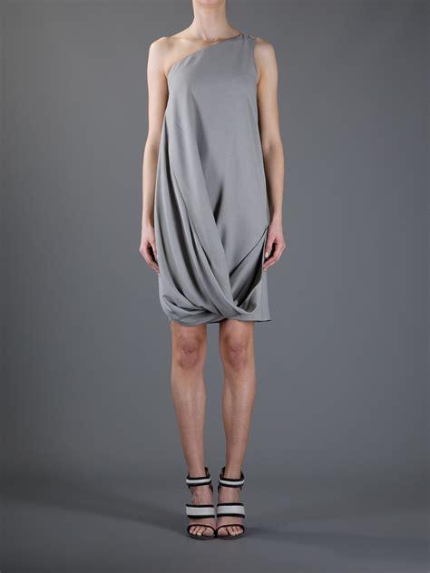 grey draped dress emporio armani draped dress in gray grey lyst