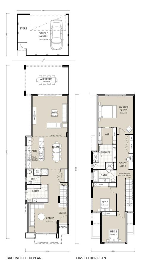 Townhouse Plans Narrow Lot by Best 25 Narrow House Plans Ideas On Pinterest Narrow