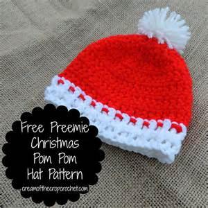 Crochet patterns galore free preemie christmas pom pom hat