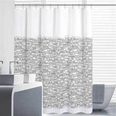 Black And White Shower Curtains Waterproof Great Black And White Shower Curtain
