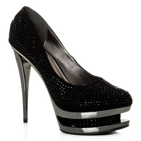 platform metal high heel diamante court shoe