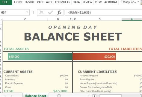 opening balance sheet template opening day balance sheet for excel