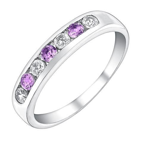 9ct white gold amethyst cubic zirconia eternity ring h