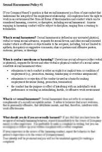 Sexual Harassment Policy Template by Daycare Sexual Harassment Document Daycare