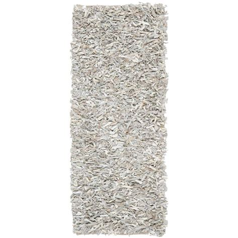 safavieh leather shag white 2 ft 3 in x 11 ft rug
