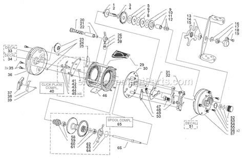 abu garcia reel parts diagram abu garcia 6500 c4 le parts list and diagram 13 00
