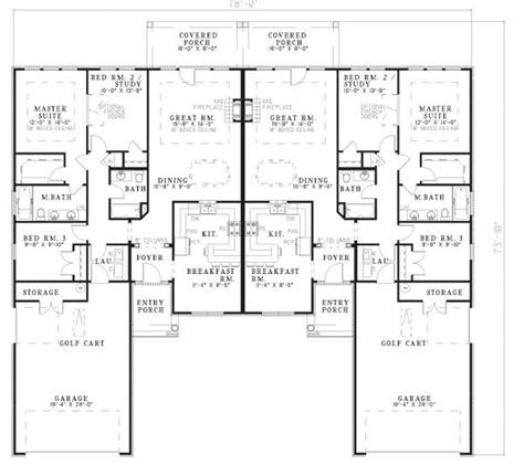 multi family house plans duplex multi family plan 62358 level one duplex floor plans
