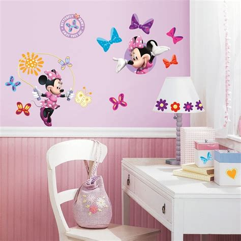 minnie mouse bow tique wall decals disney stickers girls pink room decor ebay