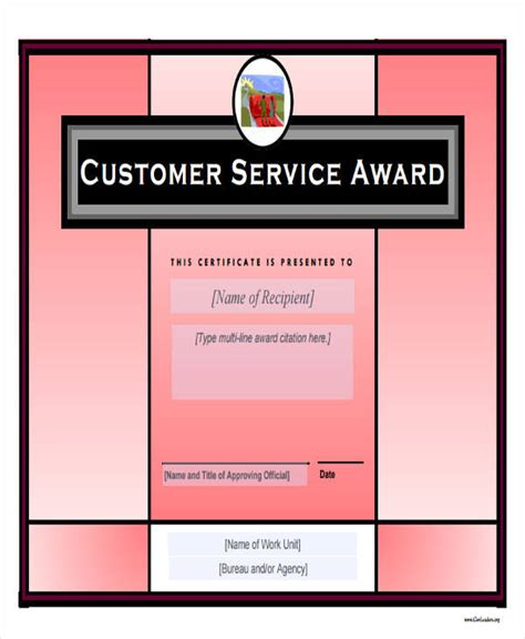 free templates for service awards 32 free award certificate