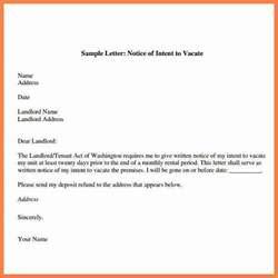 30 day notice to landlord letter template 7 30 day notice to vacate sle letter notice letter