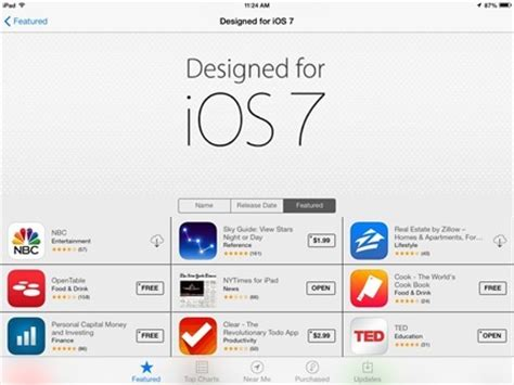 app store featuring 'designed for ios 7' apps | ipad insight