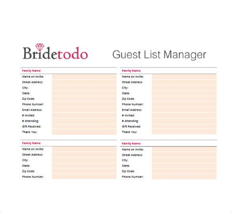 Wedding Guest List Template 10 Free Word Excel Pdf Format Download Free Premium Templates Printable Wedding Guest List Template