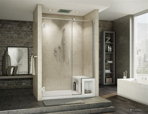 Shower Base And Doors Fleurco Titan Shower Door Urbana Showerbase With Seat Contemporary Shower Doors
