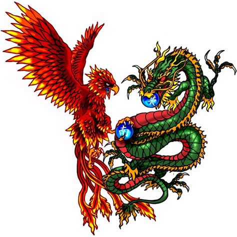 dragon and phoenix tattoo and tatoo by pandeki on deviantart