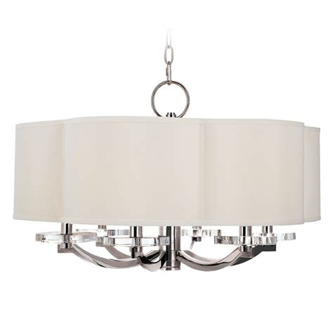 Modern White Nickel Drum Shade Modern Drum Pendant Light With White Shade In Polished