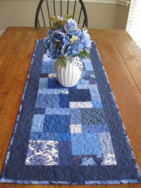 Patchwork Table Runners - shades of blue patchwork table runner