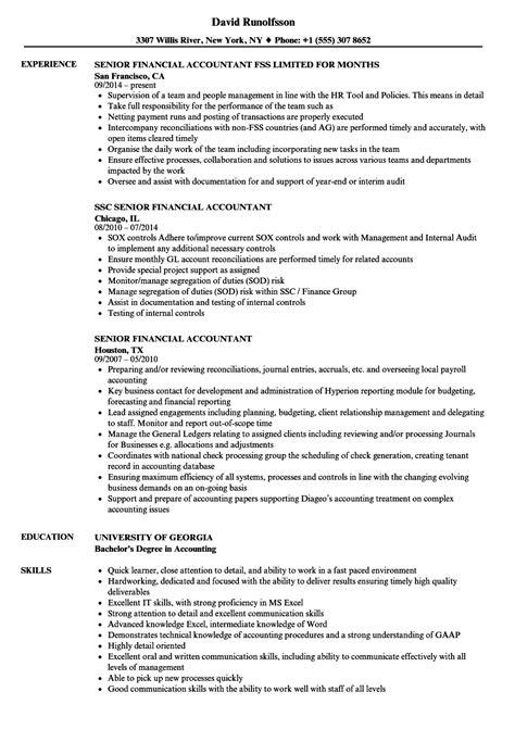 senior financial accountant resume sles velvet