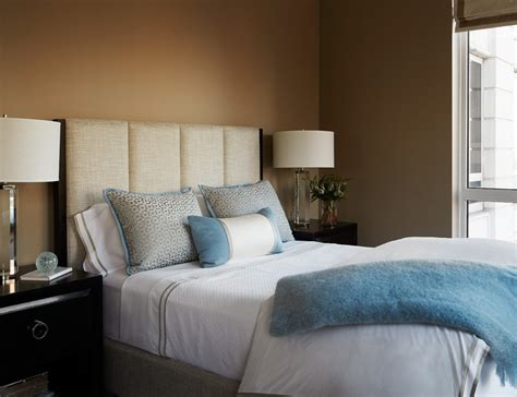 transitional style bedroom in brown with blue a bold transitional bedroom ideas bedroom transitional with brown
