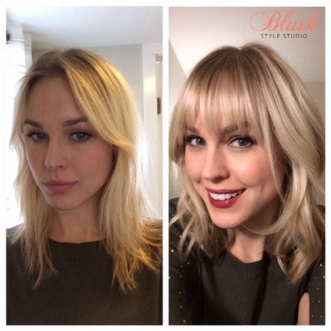 shoulder length haircuts before and after before and after with bangs hairstyle blonde highlights