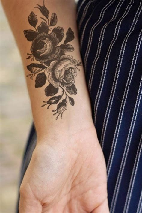 rose temporary tattoo 18 amazing flowers wrist tattoos