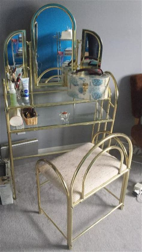 Glass Makeup Vanity Table Brass And Glass Makeup Vanity Table Nepean Ottawa