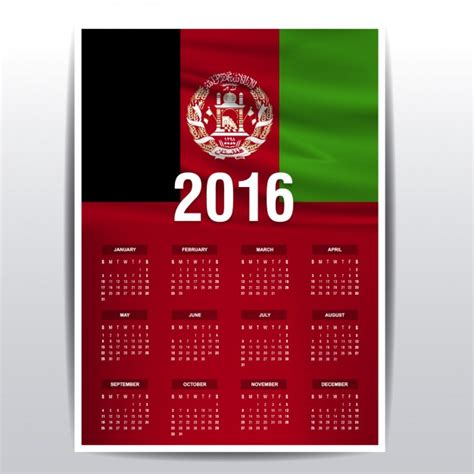 2016 calendar of Afghanistan Vector   Free Download