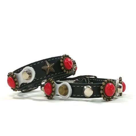 collar and bracelet leather rivets cat collar design with polaris coral stones