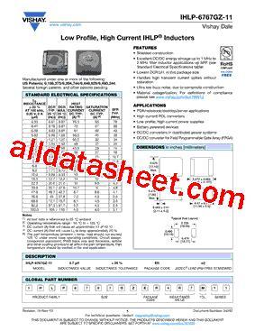 vishay inductors datasheet ihlp6767gzer100m11 datasheet pdf vishay siliconix