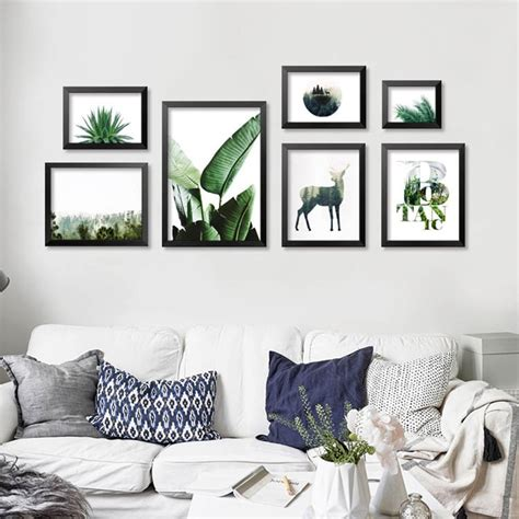 Posters For Living Room - tropical plants stylish wall