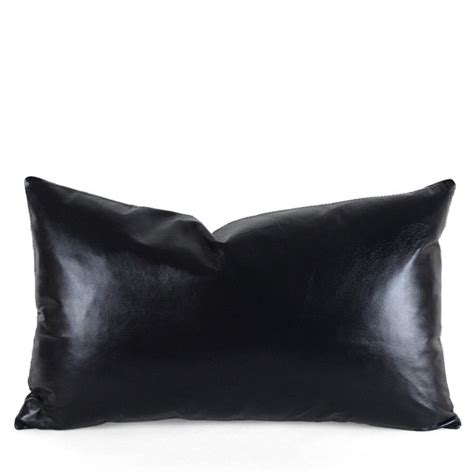 Black Leather Pillow by Black Leather Pillow Pfeifer Studio