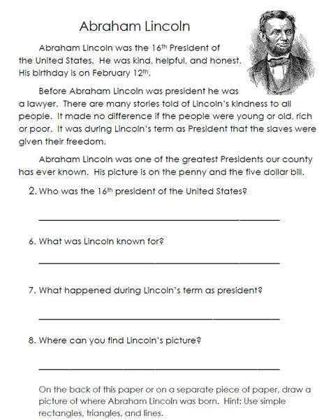 Abraham Lincoln Comprehension Worksheet by Uncategorized Abraham Lincoln Worksheets Klimttreeoflife